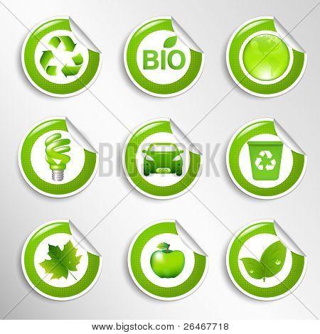 9 Eco Labels, Vector Illustration