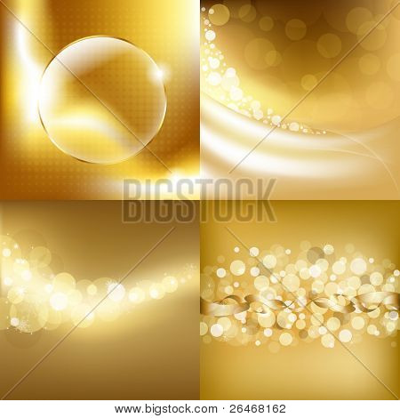 4 Gold Backgrounds, Vector Illustration