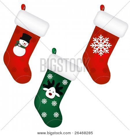 3 Santa's Stocking, Isolated On White Background, Vector Illustration