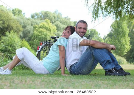 couple relaxing in a park
