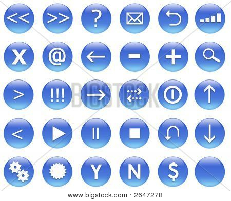 Icons For Web Actions Set Blue