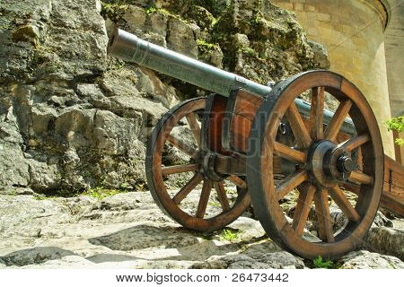 Old style cannon on castle