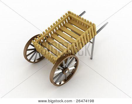 Empty Cart Isolated On White Background. 3D Image