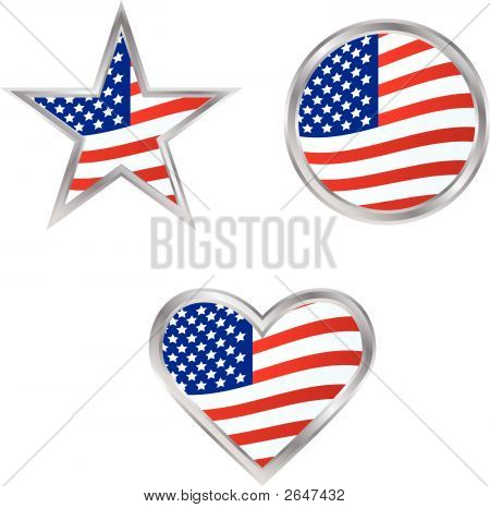 Three American Flag Icons