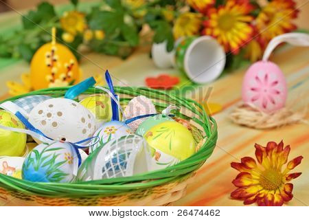 Home decoration - basket full painted easter of eggs and flower