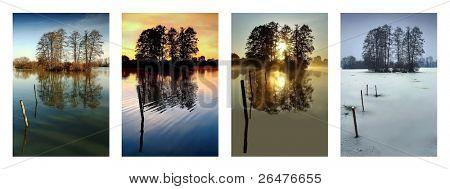 Colección cuatro estaciones - primavera, verano, otoño, invierno