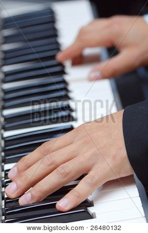 Artist hands of a piano player