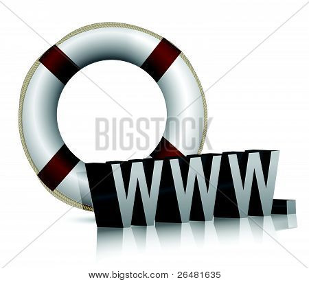 Lifesaver-lifesaver with www text illustration design on white