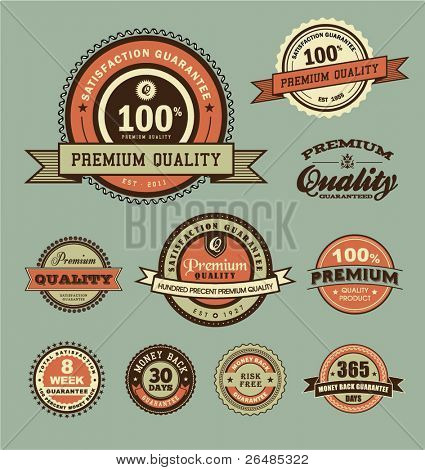 vector set of Premium Quality, Money Back & Satisfaction Guarantee