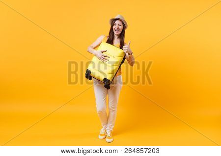 poster of Traveler Tourist Woman In Summer Casual Clothes, Hat With Suitcase Isolated On Yellow Orange Backgro