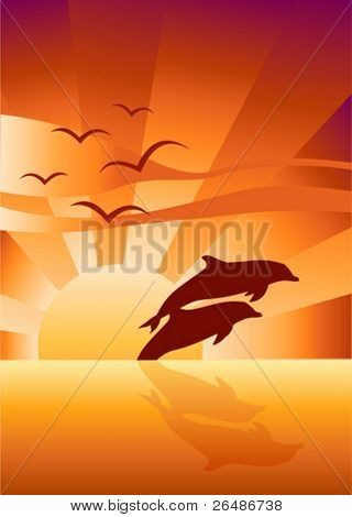 Vector illustration of Two dolphins swimming in sunset background