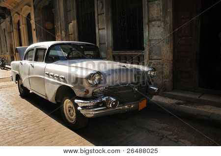 Vintage classic american car in the streets of Old havana