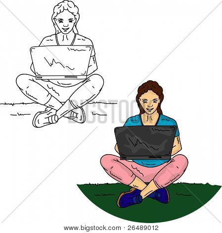 Vector - Girl sitting on grass with notebook, isolated on background