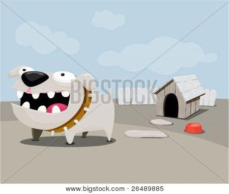 Dog barking in the backyard.