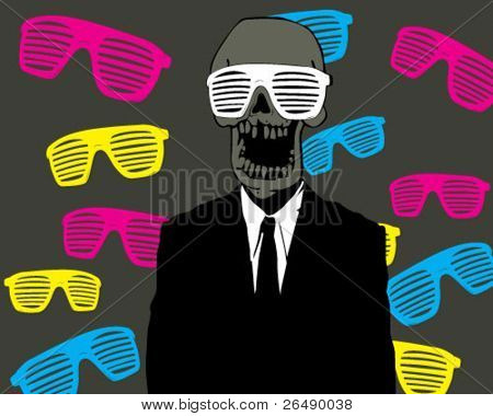 skull with glasses.