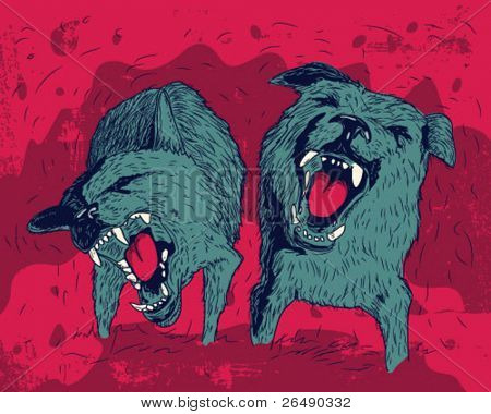 aggressive dog.