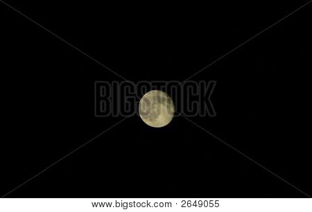 Gibbous Moon On Dark Sky