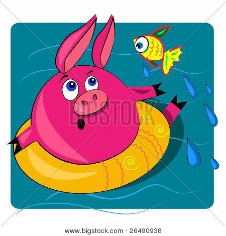 pig swimming in ocean.vector card illustration