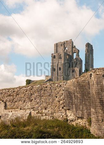 Beautiful Corfe Castle Dorset Daytime