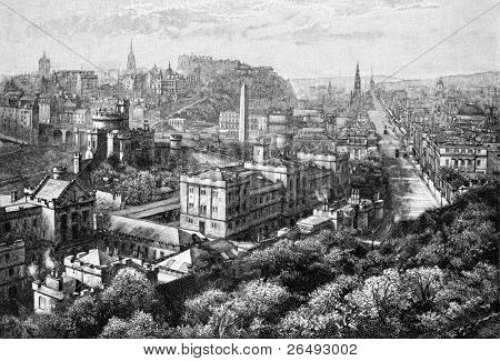 Edinburgh from Calton Hill. Engraved by anonymous engraver and published in Universal Geography with Illustrations and Maps, United Kingdom, 1880.