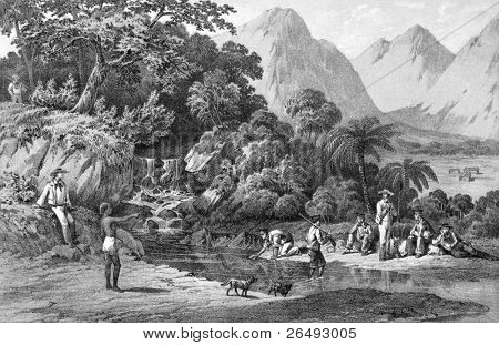 Expedition of an American squadron while in Kanaka Village, Bonin Islands, Japan. Engraved by P.S Duval and published in Narrative of Perry's Expedition to Japan, USA, 1856.