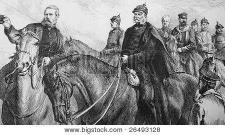 The King of Prussia and his Generals in Franco-Prussian War. Engraved by anonymous engraver and published in the Graphic, United Kingdom, 1870.
