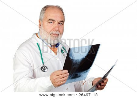 Senior doctor with hoary hair with a radiography isolated on white background