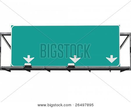 Blank freeway sign isolated on white.