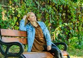 Feeling Free And Relaxed. Woman Blonde Take Break Relaxing In Park. You Deserve Break For Relax. Way poster