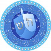 stock photo of dreidel  - Blue and white Hanukkah design with Dreidel - JPG