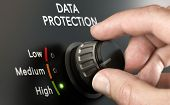 Cybersecurity Concept. Man Switching Personal Data Protection System To The Highest Position. poster