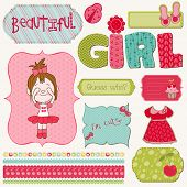 stock photo of baby doll  - Scrapbook Girl Set  - JPG