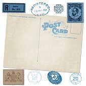 Постер, плакат: Антикварные открытки в векторном с почтовых марок
