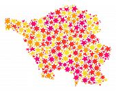 Map Of Saarland Map Created With Colored Flat Stars. Vector Colored Geographic Abstraction Of Map Of poster