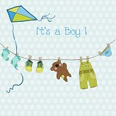 pic of dungarees  - Baby Boy Shower or Arrival Card with place for your text in vector - JPG