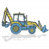 Blue Yellow Outlined Big Excavator, Digger On White. Digging Of Ground. Construction Machinery And G poster