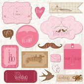 Romantic Wedding Tags and Design Elements -for invitation, scrapbook in vector