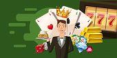 Casino Croupier Horizontal Banner Concept. Cartoon Illustration Of Casino Croupier Horizontal Banner poster