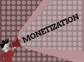 Writing Note Showing Monetization. Business Photo Showcasing Process Of Converting Establishing Some poster