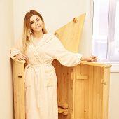 Barrel Cedar. Wellness Spa Sauna. Aromatherapy Treatment. Young Beauty Woman. Girl Face poster