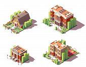 Vector Isometric Educational Buildings Set. Includes School, Preschool Or Kindergarten, University A poster
