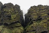 Closeup Of Raudfeldsgja Gorge On A Foggy Day, Snaefellsnes Peninsula, Iceland poster