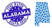 Map Of Alabama State Vector Mosaic And Pure Water Grunge Stamp. Map Of Alabama State Created With Bl poster