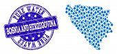 Map Of Bosnia And Herzegovina Vector Mosaic And Pure Water Grunge Stamp. Map Of Bosnia And Herzegovi poster
