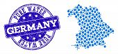 Map Of Germany Vector Mosaic And Pure Water Grunge Stamp. Map Of Germany Created With Blue Water Dew poster