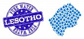 Map Of Lesotho Vector Mosaic And Pure Water Grunge Stamp. Map Of Lesotho Composed With Blue Water Ra poster