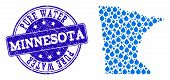 Map Of Minnesota State Vector Mosaic And Pure Water Grunge Stamp. Map Of Minnesota State Designed Wi poster