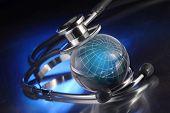 pic of health-care  - stethoscope on globe - JPG