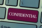 Handwriting Text Writing Confidential. Concept Meaning Something Intended To Be Kept As A Secret Pri poster