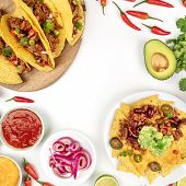 An Overhead Photo Of An Assortment Of Many Different Mexican Food, Including Tacos, Guacamole, Pico  poster